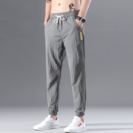 Mens Cotton Linen Drawstring Trouser Elastic Waist Casual Jogger Pant Loose Fit Straight - Legs Stretchy Bottom, Men's Trouser For Men, Loose Casual Pant Trouser Gray
