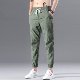 Mens Cotton Linen Drawstring Trouser Elastic Waist Casual Jogger Pant Loose Fit Straight - Legs Stretchy Bottom, Men's Trouser For Men, Loose Casual Pant Trouser Green Grapes
