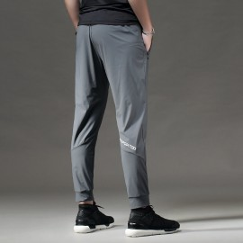 Fashion Gym Trouser Loose Fitness Casual Sweatpants Drawstrings Design Sports Trouser Men Workout Ankle Banded Trouser Gray