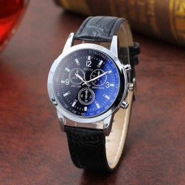 Watch Blue Dial Tinted Glass, Leather Chronograph Watch For Men, Black Strap Silver Case Watch