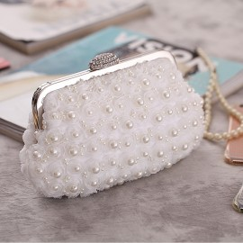 Bride Clutch Girl Hand Clutch Bag with One Shoulder Chain and  New Trend Pearl Clutch Bag For Women, Girl, Ladies, Party Clutch, Wedding Clutch