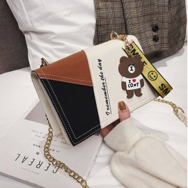Girl New Lovely Hang Hand Bag Women New Version One-Shoulder Bag, Chain Hang Bag For Girls And Women, New Contrast Girl Bags-Offwhite