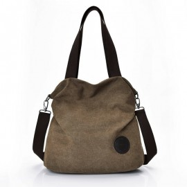 Imported Women's Leisure Bags, Handbags With Shoulder-To-Shoulder Sloping Bags And large Capacity Multi-Layer Canvas Bag, Women Shoulder Cross Body Bag-Brown