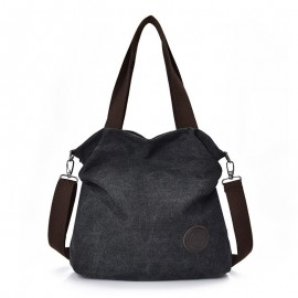 Imported Women's Leisure Bags, Handbags With Shoulder-To-Shoulder Sloping Bags And large Capacity Multi-Layer Canvas Bag, Women Shoulder Cross Body Bag-Black