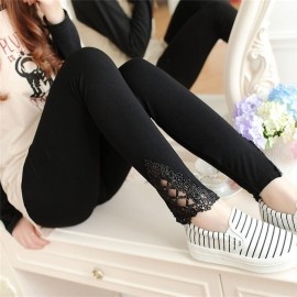 Lace Leggings Outer Wear Thin Stretch Pure Cotton Lace Leggings For Women Girls Slim Solid Lace Bottom Style Legging Black
