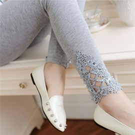 Lace Leggings Outer Wear Thin Stretch Pure Cotton Lace Leggings For Women Girls Slim Solid Lace Bottom Style Legging Gray