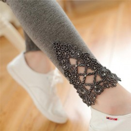Lace Leggings Outer Wear Thin Stretch Pure Cotton Lace Leggings For Women Girls Slim Solid Lace Bottom Style Legging Brown