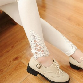 Lace Leggings Outer Wear Thin Stretch Pure Cotton Lace Leggings For Women Girls Slim Solid Lace Bottom Style Legging White
