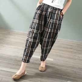 Cotton Literature And Art Vintage Harem Trouser Style Women's Trouser Loose Checkered Capri Casual Trouser For Women