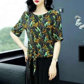 Girl Fashion Top For Outdoor, Parties, Events, Daily - Ice Cream Print Women Shirt Top With Side Bottom Ribbon Style